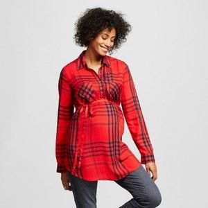 Liz Lange Maternity Red Flannel Maternity Tunic